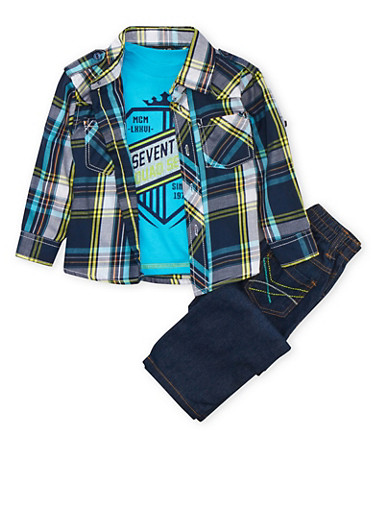 Toddler Boys Plaid Shirt and Graphic Tee with Jeans Set,TURQUOISE,large