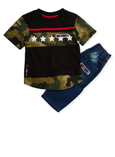 Toddler Boys Enyce Tee and Distressed Jeans Set,BLACK,large