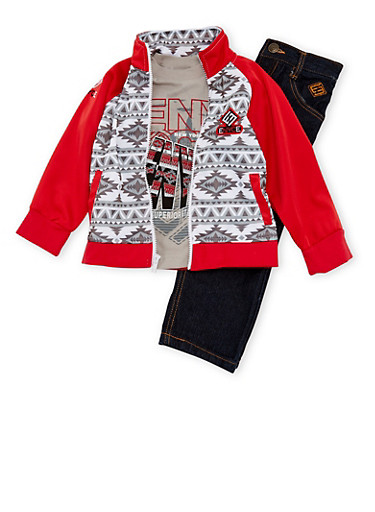 Toddler Boys Printed Jacket and Graphic Tee with Jeans Set,RED,large