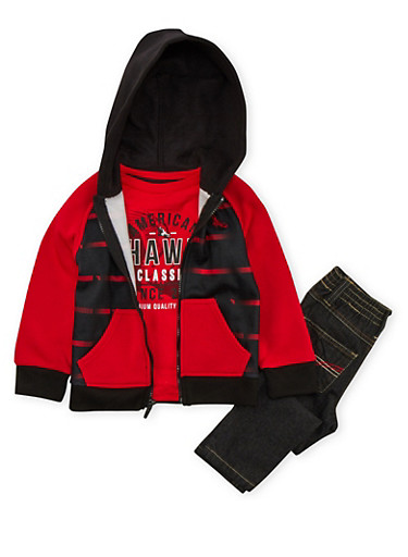 Toddler Boys Hoodie and Graphic Tee with Jeans Set,RED,large