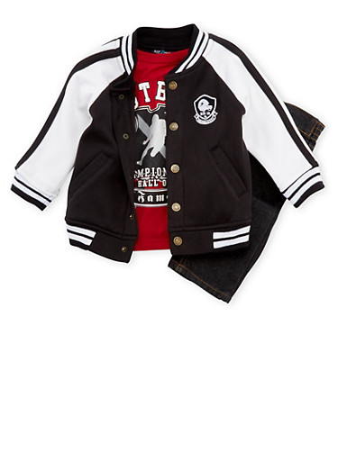 Toddler Boys Varsity Jacket and Graphic Tee with Jeans Set,BLACK,large