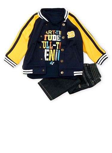 Toddler Boys Varsity Jacket and Graphic Tee with Jeans Set,NAVY,large