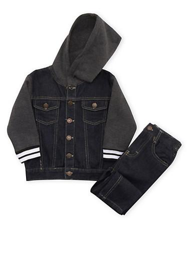 Toddler Boys Hooded Denim and Knit Jacket with Jeans Set,BLUE DENIM,large