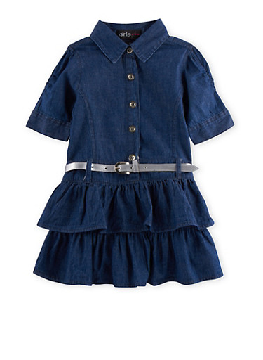 Toddler Girls Tiered Chambray Dress with Removable Belt,DENIM,large