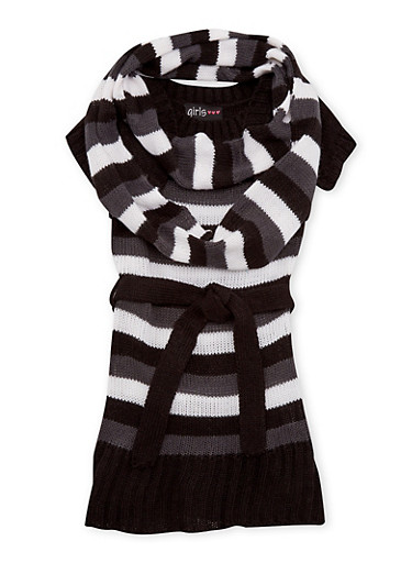 Toddler Girls Striped Sweater Dress with Infinity Scarf,CHARCOAL,large