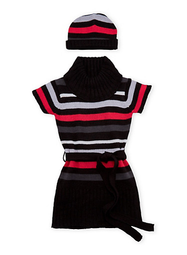 Toddler Girls Striped Sweater Dress with Hat,BLACK,large