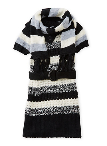 Toddler Girls Sweater Dress with Scarf Set,BLACK,large