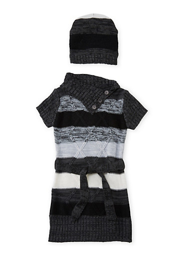 Toddler Girls Matching Striped Knit Dress and Beanie,BLACK,large