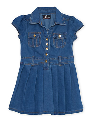 Toddler Girls Pleated Denim Fit and Flare Dress,LIGHT WASH,large