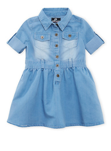 Toddler Girls Chambray Dress with Button-Cuff Sleeves,LIGHT WASH,large