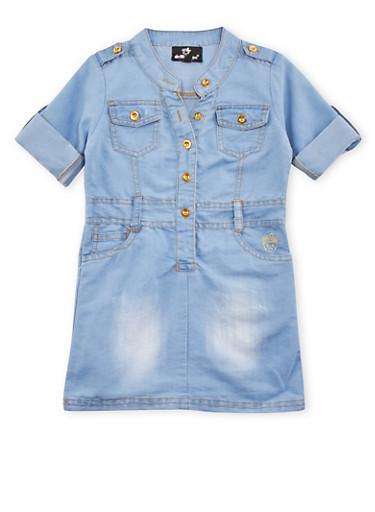Toddler Girls Denim Shirt Dress,LIGHT WASH,large