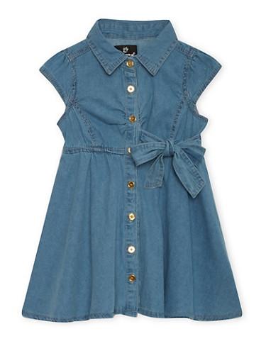 Toddler Girls Belted Denim Dress,LIGHT WASH,large