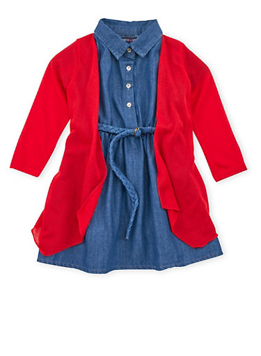 Toddler Girls Limited Too Denim Dress with Cardigan,DENIM,large