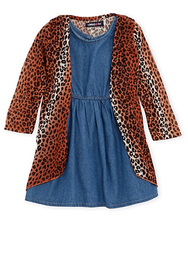 Toddler Girls Limited Too Cardigan and Chambray Dress Set,DENIM,large