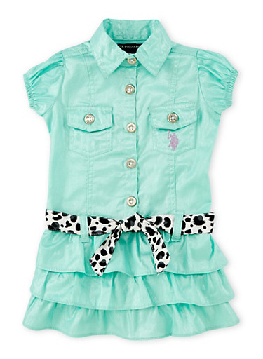 Toddler Girls Metallic Dress with Tiered Skirt,MINT,large
