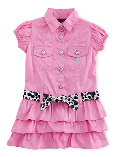 Toddler Girls Tiered Dress with Printed Belt,PINK,large