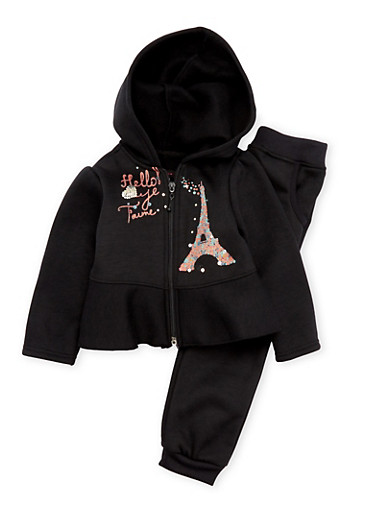 Toddler Girls Hoodie and Sweatpants Set with Paris Graphic,BLACK,large