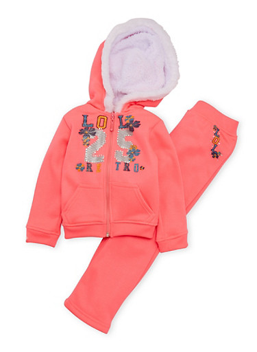 Toddler Girl Graphic Hoodie and Sweatpants Set,NEON PINK,large