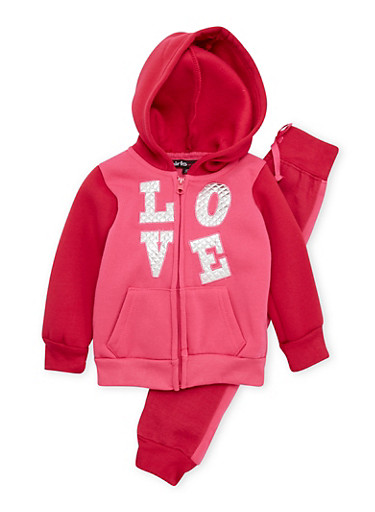 Toddler Girls Love Patch Hoodie with Joggers Set,FUCHSIA,large