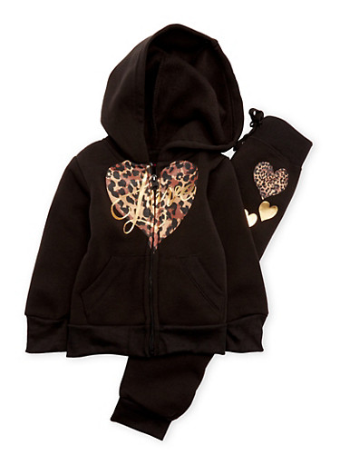 Toddler Girls Hoodie and Sweatpants Set with Love Graphics,BLACK,large