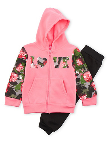 Toddler Girls Love Graphic Hoodie and Sweatpants Set,CORAL,large