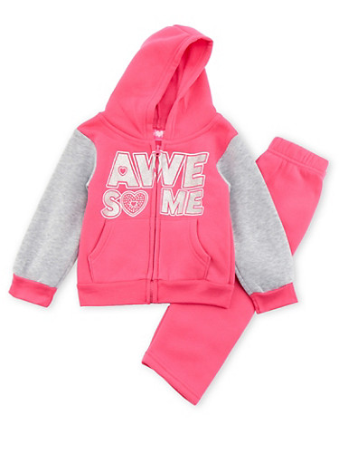 Toddler Girls Awesome Graphic Hoodie and Sweatpants Set,PINK,large