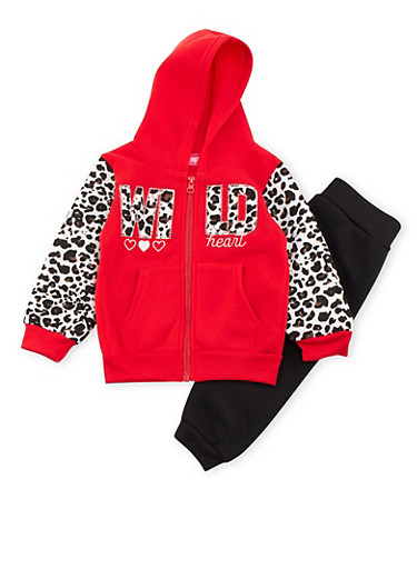 Toddler Girls Hoodie and Joggers Set with Leopard Trim,RED,large