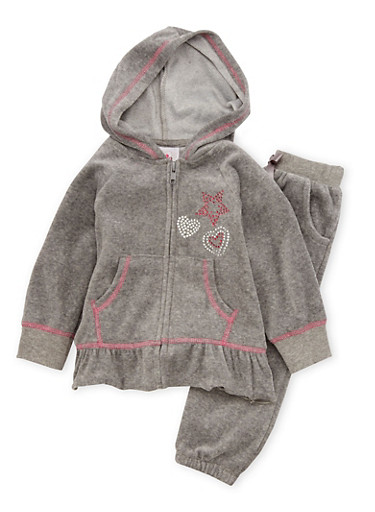 Toddler Girls Ruffled Hoodie and Joggers Set,CHARCOAL,large