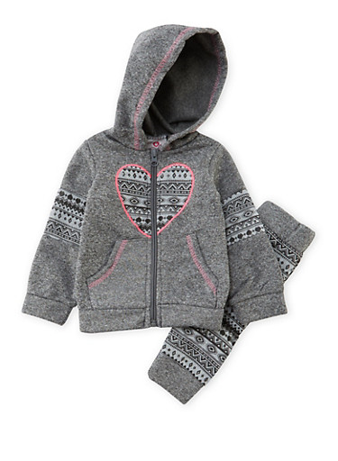 Toddler Girls Hoodie and Joggers Set with Ikat Accents,CHARCOAL,large