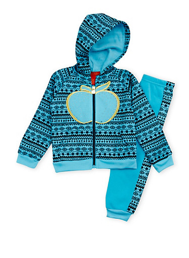 Toddler Girls Apple Bottom Two Piece Set with Aztec Print,TURQUOISE,large