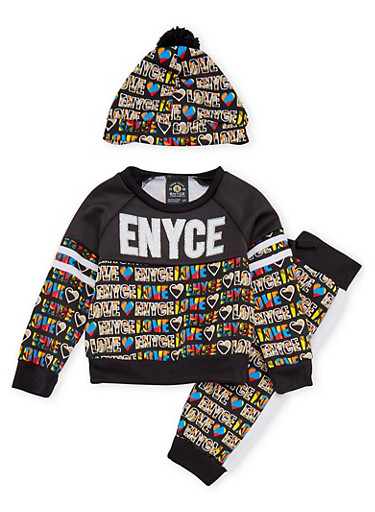 Toddler Girls Enyce Graphic Top Joggers and Hat Set,BLACK,large