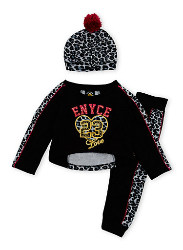 Toddler Girls Enyce Graphic Top with Joggers and Hat Set,BLACK,large