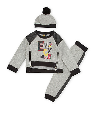 Toddler Girls Enyce Graphic Sweatshirt with Joggers and Hat,BLACK,large