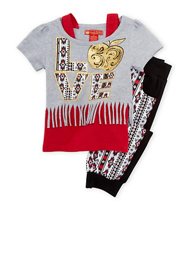 Toddler Girls Layered Top and Printed Joggers Set with Graphic,BLACK,large