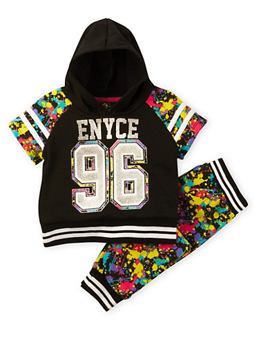 Toddler Girls Enyce Printed Hoodie and Joggers Set with Graphic,BLACK,large