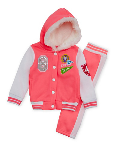 Toddler Girls Fleece Varsity Jacket and Sweatpants Set,NEON PINK,large