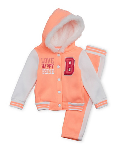 Toddler Girls Fleece Varsity Jacket and Sweatpants Set,NEON ORANGE,large
