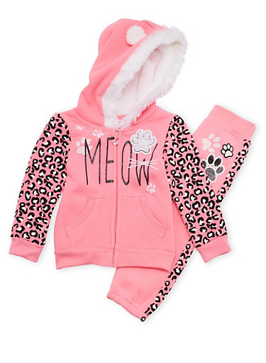 Toddler Girls Hoodie and Joggers Set with Meow Graphic,NEON PINK,large