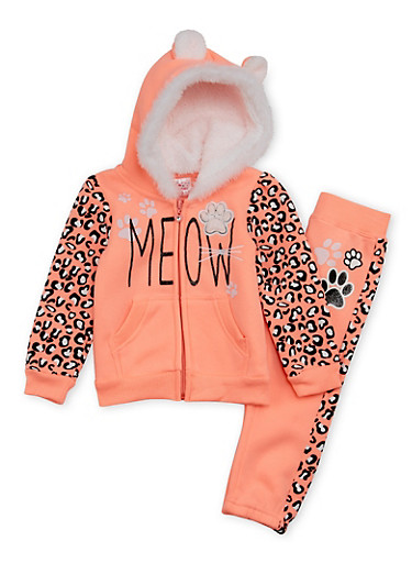 Toddler Girls Hoodie and Sweatpants Set with Cat Graphics,NEON ORANGE,large