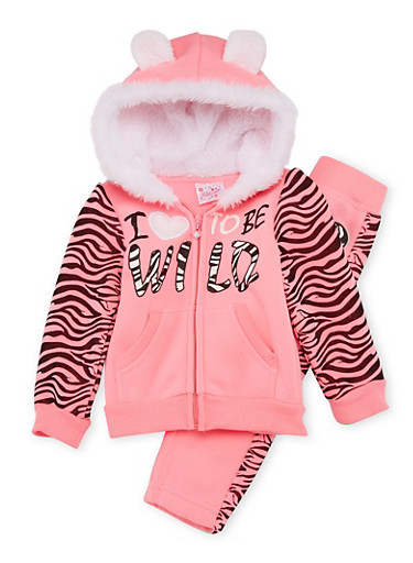 Toddler Girls Zip-Up Animal Ear Hoodie and Joggers with Love to be Wild Print,NEON PINK,large