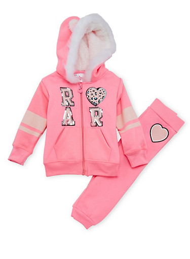 Toddler Girls Hoodie and Joggers Set,NEON PINK,large