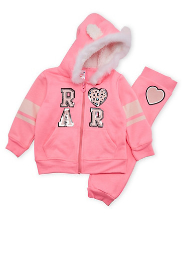 Toddler Girls Hoodie and Joggers Set with Roar Graphic,NEON PINK,large