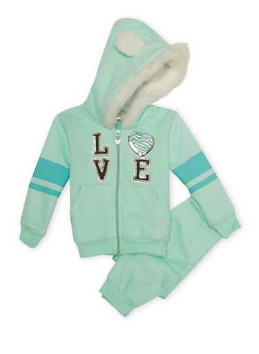 Toddler Girls Love Hoodie and Joggers Set,MINT,large