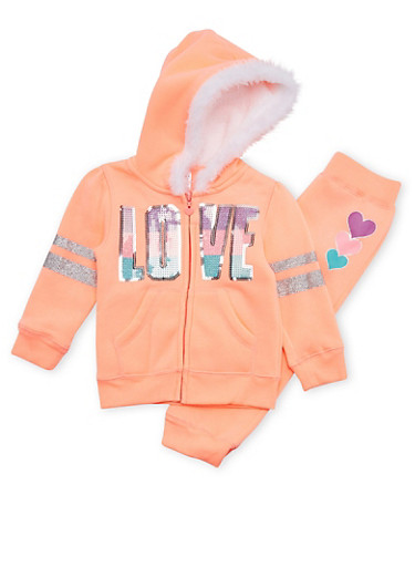 Toddler Girl Hoodie and Joggers with Sequin Love Graphic,NEON ORANGE,large