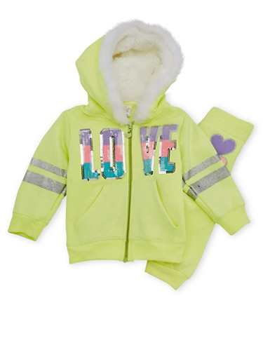 Toddler Girl Hoodie and Joggers Set,NEON YELLOW,large