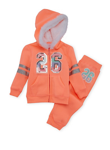 Toddler Girl Hoodie and Joggers Set,NEON ORANGE,large