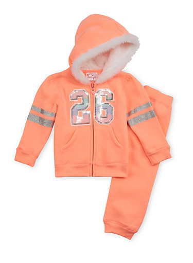 Toddler Girls Graphic Hoodie and Sweatpants Set,NEON ORANGE,large