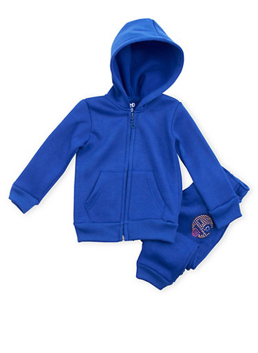 Toddler Girls Limited Too Hoodie and Joggers Set,ROYAL,large