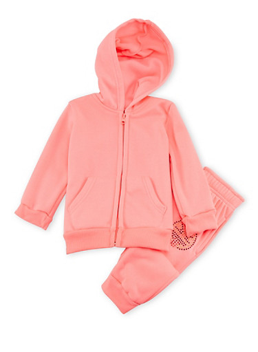 Toddler Girls Limited Too Hoodie and Joggers Set,NEON PINK,large