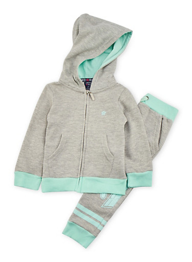 Toddler Girls Love Graphic Hoodie with Joggers Set,GREY,large